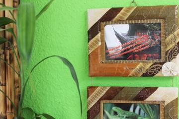 exotischer bilderrahmen f r 3 fotos 9x13cm ebay. Black Bedroom Furniture Sets. Home Design Ideas