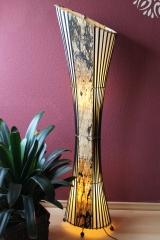 elegante bodenlampe bodenleuchte afrika asien borkenfaser bambus textil 150cm ebay. Black Bedroom Furniture Sets. Home Design Ideas