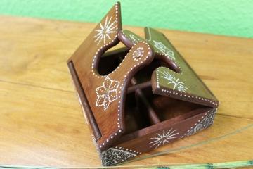Holz Bilderrahmen In Puzzleform ~ Verzierte Holz Schmuckschatulle braun 14,5×14,5x5cm