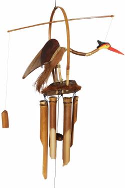 50 cm L/änge Exotisches Feng Shui Windspiel Klangspiel Bambus und Kokosnuss 6 R/öhren ca