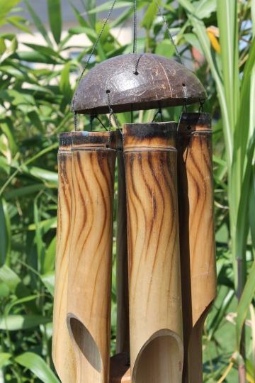 Exotisches Feng Shui Windspiel Klangspiel Bambus und Kokosnuss 6 R/öhren ca 50 cm L/änge