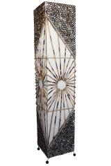 Stilvolle Bodenlampe Bodenleuchte Handarbeit Asien Bambus Textil natur 150cm