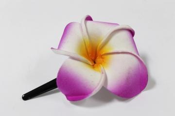 Exotische Haarklemme Haarclip Haarspange Blüte Frangipani rosa 8cm lang 6x6cm