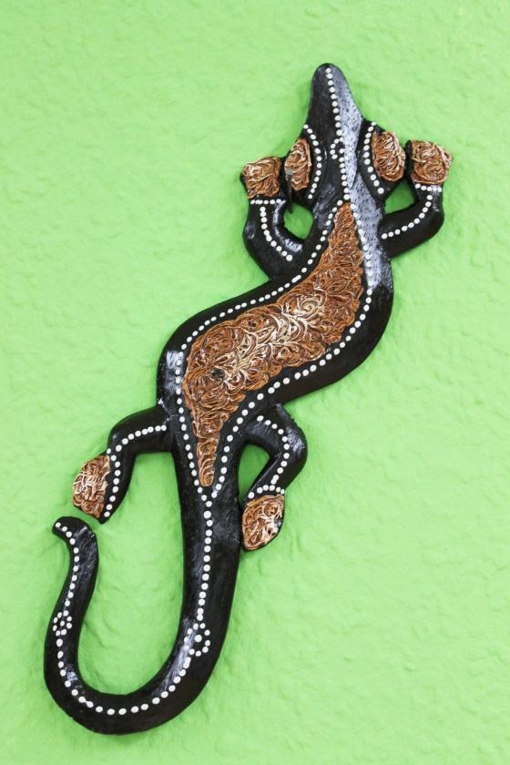 Holzfigur wanddeko gecko braun 50cm naturesco - Gecko wanddeko ...
