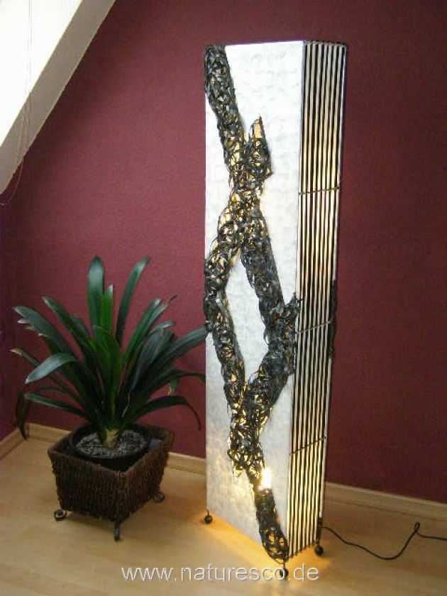 bodenlampe bambus perlmutt 150cm naturesco. Black Bedroom Furniture Sets. Home Design Ideas